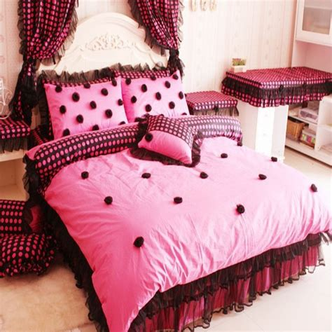 black lace comforter set korean style polka dot bed skirt princess bedding set