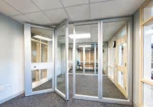 Glass Door Partition Glass Folding Doors Clear Separation For Office Spaces Hufcor
