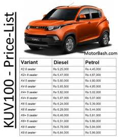 mahindra motors price list new cars kuv100 price variants colours pics now launched