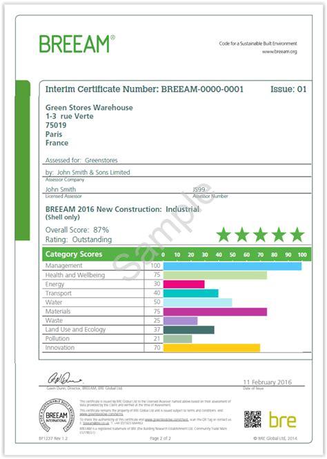 design stage certificate appendix