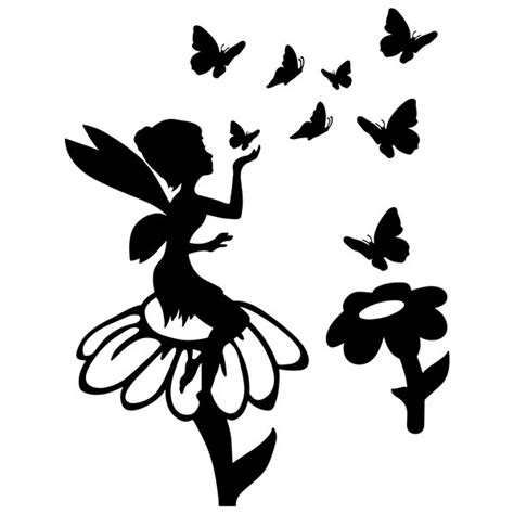 imagenes de hadas en blanco y negro vinilo infantil del hada canilla con flores y mariposas