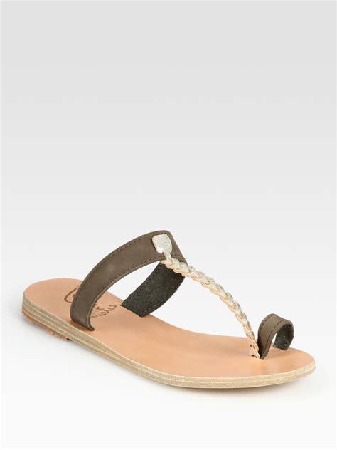 braided sandal ancient sandals melpomeni leather braided metallic