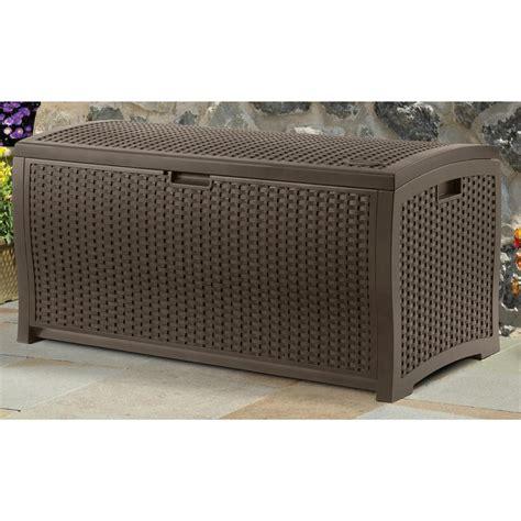 suncast 99 gallon wicker deck box resin 202211 patio