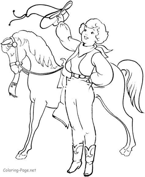 coloring pages of cowgirls and horses coloring page show cowboys and