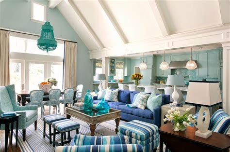 turquoise blue living room cottage living room decor eclectic cottage home with a vibrant yet balanced color
