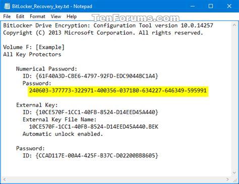 reset windows password bitlocker backup bitlocker recovery key in windows 10 windows 10