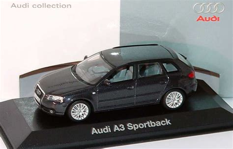 Modellauto Audi A3 by 1 43 Audi A3 Sportback Ebonyschwarz Met Werbemodell