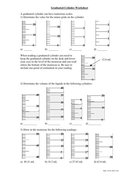 Reading A Meniscus Worksheet by Graduated Cylinder Worksheet