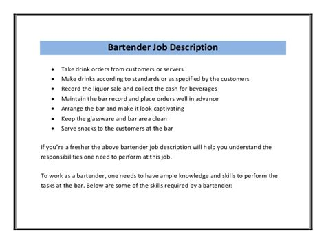 Example Of A Server Resume by Bartender Resume Sample Pdf