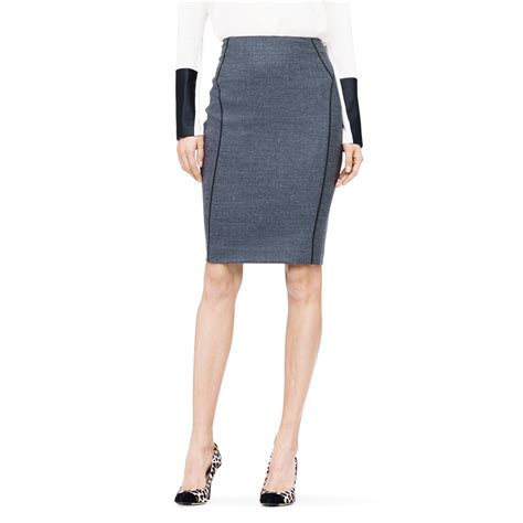 club monaco breanna pencil skirt in gray grey black lyst