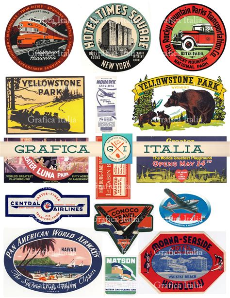 printable luggage stickers vintage 15 large usa travel stickers retro digital printable