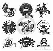 Vector Set Of Auto Service Labels In Vintage Style Car