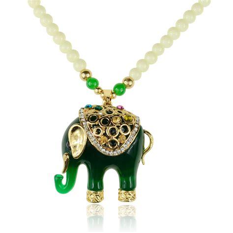 Jade Pendant Necklace jade green acrylic gemstone elephant chain
