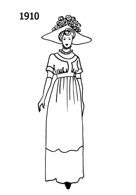 Costume Silhouettes Free Line Drawings 1910-1913