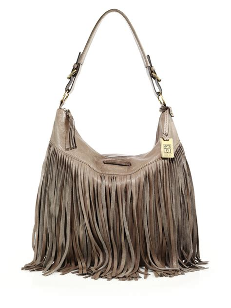 leather fringe bags frye heidi fringed leather hobo bag in gray lyst