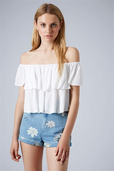 Top Five Bandeau Tops by Lyst Topshop Crinkle Bardot Bandeau Top In White