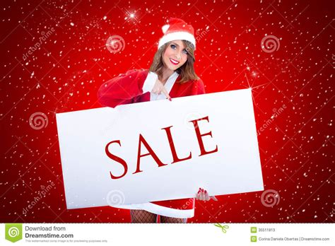 santa claus woman with sale billboard stock photos image
