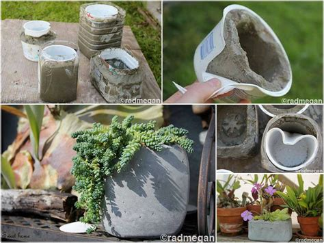 diy planter ideas diy molded concrete planters fabdiy