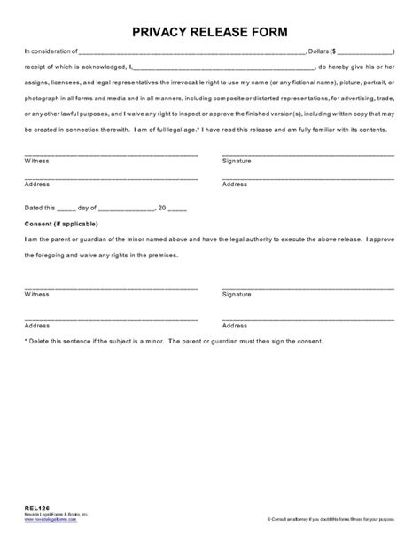privacy release form template privacy release form nevada forms tax services inc