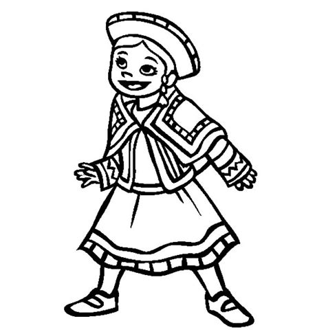 mexican girl coloring page little mexican girl wearing mexican dress coloring pages