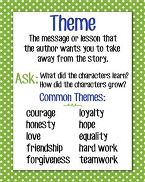 themes of stories reading on pinterest main idea teaching themes and