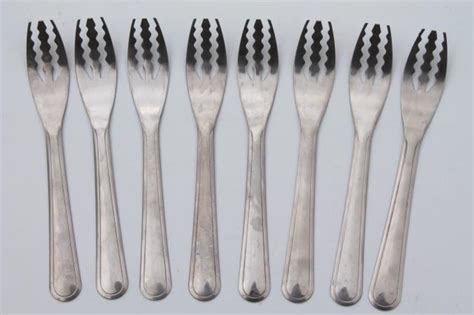 Used Kitchen Furniture stainless steel spaghetti forks set for 8 vintage flatware