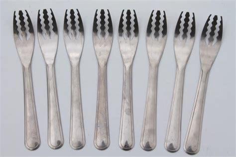 stainless steel spaghetti forks set for 8, vintage flatware