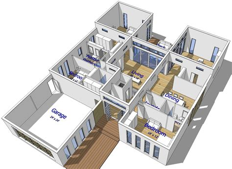 3d floor plan roof cut view 05 by jons3d on deviantart buy our 1 level steel frame home 3d floor plan next