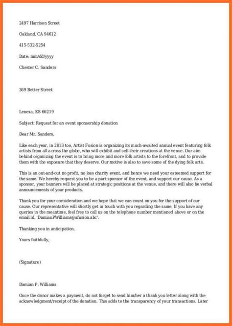 sample letters donations template business