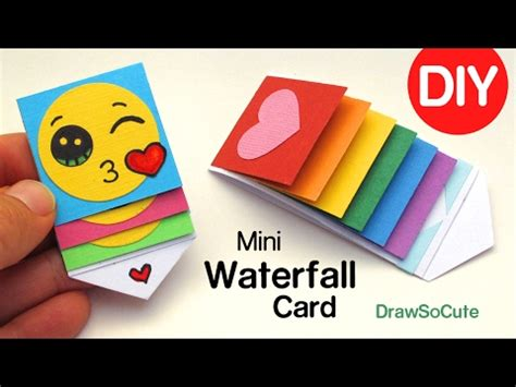 waterfall card template draw so diy mini waterfall card step by step easy craft tutorial