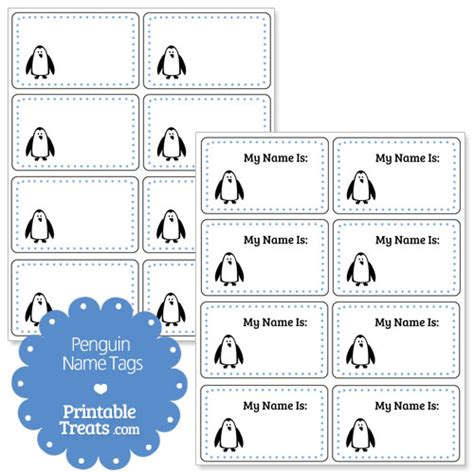 printable penguin name tags penguin name tags printable treats com