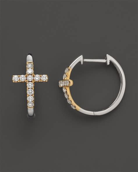 cross hoop earrings in 14k white and yellow gold