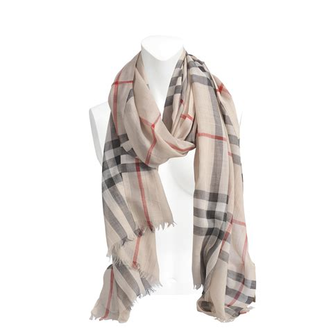 burberry gauze check scarf in lyst