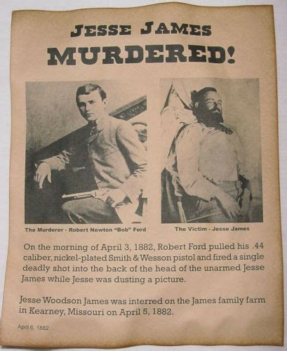 jesse james murder notice poster  west outlaw