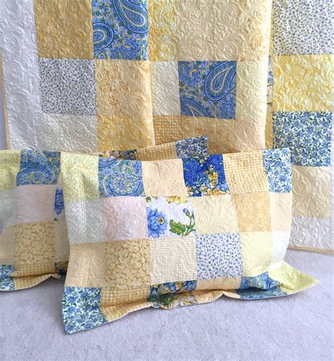 Patchwork Pillow Shams - quilted pillow sham king size patchwork by kimsquiltingstudio