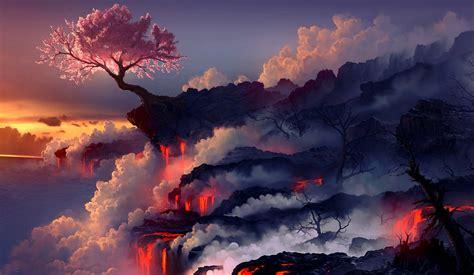 digital cherry tree landscapes wallpapers hd desktop