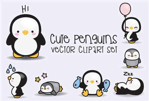 high quality clipart premium vector clipart kawaii penguins penguins