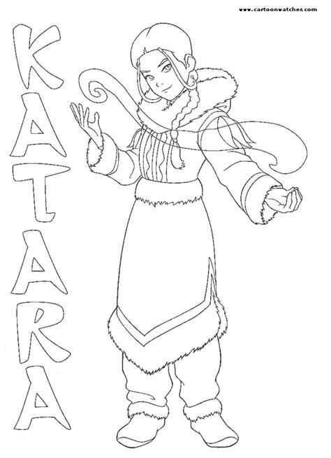 katara water bender color page avatar the last airbender