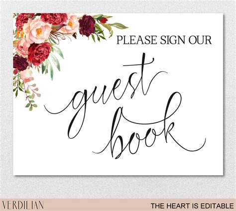 Guest Book Sign Printable Template Please Sign Our Guest Book Burgundy Printable Diy Template Sign Our Guest Book Template