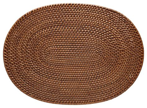 oval placemats shop houzz kouboo oval rattan placemat set of 2 placemats