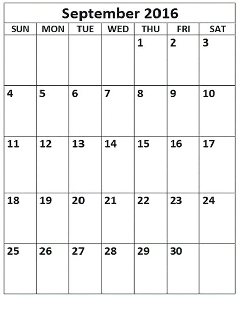 printable calendar portrait september 2016 printable calendar templates blank calendar