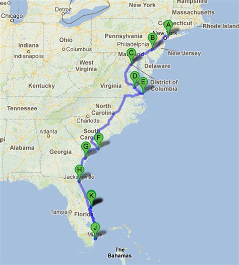 map us east coast beaches road trip along the east coast of usa