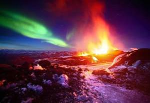 northern lights paint sky arctic volcano wired