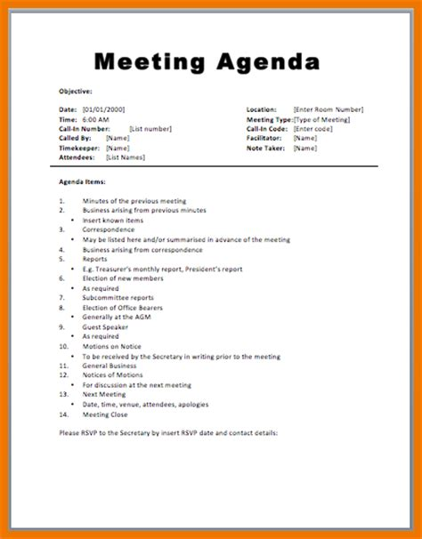 8 meeting agenda exle assistant cover letter