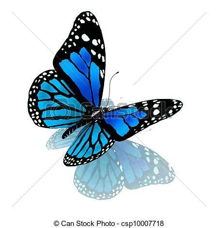 le schmetterling clipart de papillon bleu blanc couleur isolated