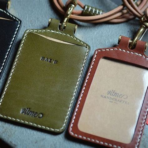 Leather Card Holder Handmade handmade leather id card holder and leather lanyard with