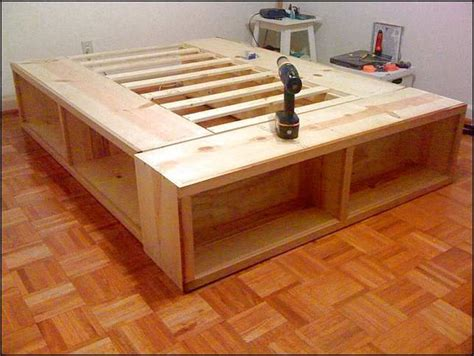 full size bed frame  storage plans diy platform bed