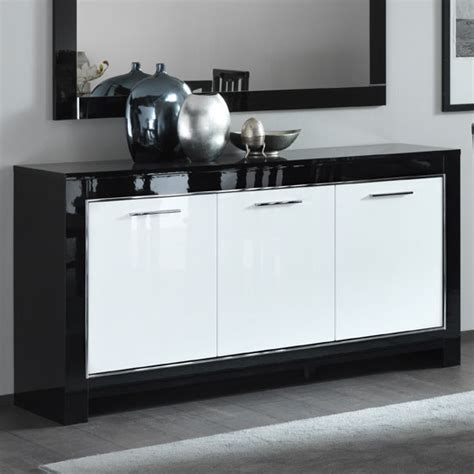 Black And White Gloss Sideboard lorenz sideboard in black and white high gloss with 3 doors