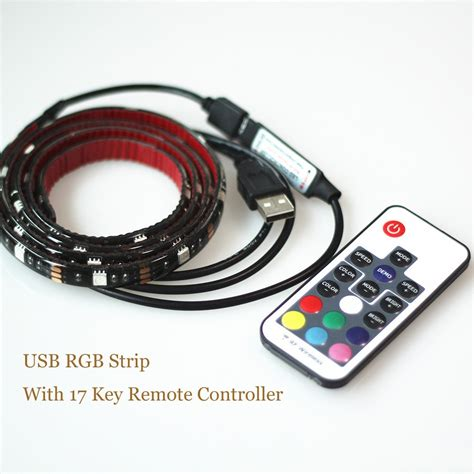 Led 5050 Rgb 1m With Usb Controller usb led 5050 rgb tv background lighting kit cuttable with 17key rf controller or mini 3key