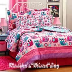 Girls Pink Teal Nature Hoot Owls Flowers Twin Full Queen Queen Bed Comforter Sets Target